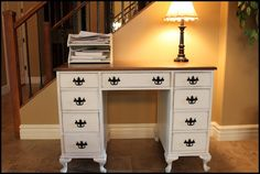 antique desk with queen anne feet and refinished top