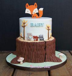 Adorable woodland baby shower cake