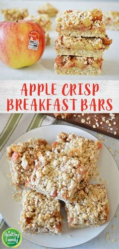 Take your breakfast on-the-go with these Apple Crisp Breakfast Bars. Just layer your ingredients and bake for a healthy, delicious way to start the day. Perfect for a make-ahead breakfast, grab and go snack or even as dessert! Recipe modifications included to make gluten-free, vegan or dairy-free. Breakfast Bars Healthy, Grab And Go Breakfast, Eat Breakfast, Dairy Free Apple Crisp, Recipe Modifications, Kid Friendly Meals, Recipe Of The Day, Gluten Free, Snacks