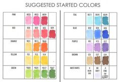 Copic Suggested starter colors, additional colors, how to, etc.
