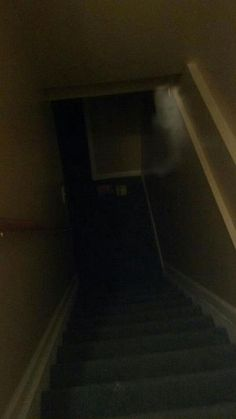 My friend posted this onto Facebook a while ago, she said her and her sister's kept hearing weird noises coming from downstairs and she took a picture of this.