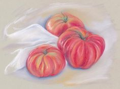 Garden Tomatoes with Drape pastel still life by @andersondesigns These tomatoes came straight from my vegetable garden.