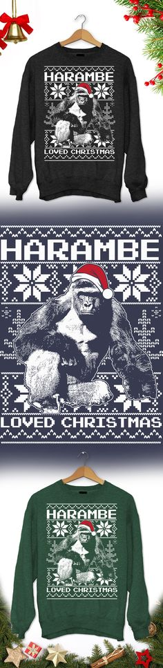 Harambe Christmas Sweater - Limited edition. Order 2 or more for friends/family & save on shipping! Makes a great gift!