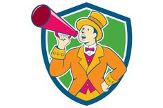 Illustration of circus ringleader ringmaster ring leader announcer wearing tall top hat and bow tie suit speaking thru a bullhorn set inside crest shield shape on isolated background. The