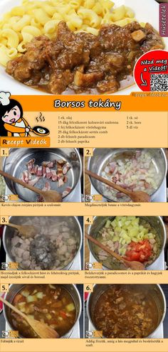 Borsos tokány recept elkészítése videóval Meat Recipes, Vegetarian Recipes, Dinner Recipes, Cooking Recipes, Healthy Recipes, Hungarian Cuisine, Hungarian Recipes, Good Food, Yummy Food