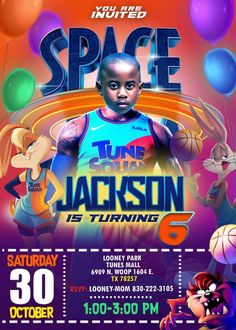 Kids Birthday Party Invitations, Birthday Party Decorations, Space Jam Costume, Toon Squad, Baby Boy Themes, Daffy Duck, Party Venues, Online Print Shop, Printable Designs