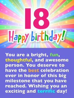 Send Free Festive Rainbow Colors – Happy Birthday Card to Loved Ones on Birthday & Greeting Cards by Davia. It's free, and you also can use your own customized birthday calendar and birthday reminders. Happy Birthday 18th, Birthday Wishes For Son, 18th Birthday Cards, Birthday Wishes Messages, Happy Birthday Brother, Birthday Reminder, Art Birthday, Birthday Greeting Cards, Birthday Quotes