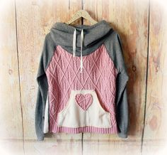 Bohemian Hoodie Cowl Hood Sweater Pullover Jumper Upcycle