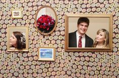 Photo walls: He took light weight wood and constructed a free standing wall. He found three frames and cut out holes to match. He used a graphic print fabric to give the appearance of wallpaper. The results were awesome! Guests can frame themselves and take fun photos. You can also frame family photos, baby pictures or other wedding themed images to hang next to the cutouts