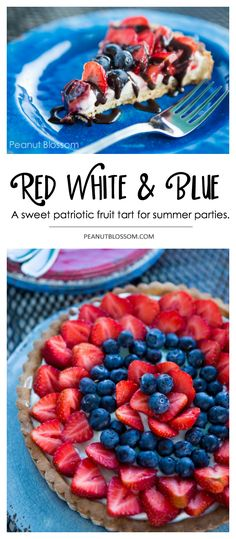 This festive red white and blue strawberry cream cheese tart is perfect for bringing to a Memorial Day or 4th of July party. Perfect summer dessert to use up all the fresh berries from the farmer's market. Drizzle it with a little chocolate sauce for an extra special treat. #dessertrecipe #creamcheesetart #berrytart #strawberries #blueberries #piecrust #picnicdessert #memorialday #4thofjuly