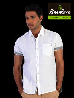 Impress everyone with #LinenLove's #White #shirt, it gives you a sophisticated look and stylish look!  Shop now at: http://bit.ly/1iKHiDj