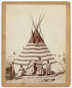 *Piegan Indians and Traditional Painted Lodge at Blackfeet Agency, Montana c.1899, names unknown.