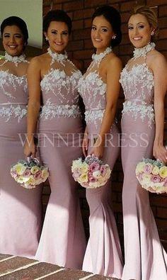 Newest+Halter+Sleeveless+Lace+Appliques+Mermaid+Bridesmaid+Dress+WNBD3005