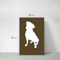 This would be cute my Roman's kennel -- Boxer Dog Poster by thedoodlestore on Etsy, $45.00