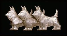 1940's Sterling Scottie Dog Pin with Triplets