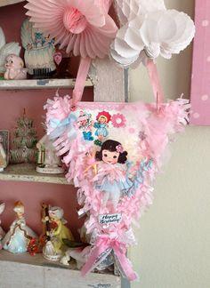 Vintage Style Pink Whimsical Sweet Keepsake Birthday Banner by Saturdayfinds