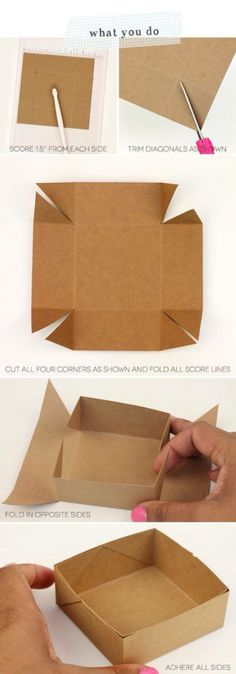 DIY Paper Box Tutorial – Simplest Box Ever - 14 Useful yet Unique DIY Gift Wrapping Tutorials You Should LearnDIY your Christmas gifts this year with GLAMULET. Craft Gifts, Diy Gifts, Diy Gift Box, Diy Gift Cards, Gift Wrap Diy, Making Gift Boxes, Diy And Crafts, Arts And Crafts, Foam Crafts