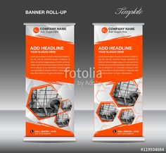 Orange Roll up banner template vector, roll up stand, banner des - Buy this stock vector and explore similar vectors at Adobe Stock Pop Up Banner, Roll Up Design, Orange Rolls, Banner Template, Banner Design, Lorem Ipsum, Packaging Design, Templates, Mockup