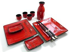 Red Sushi and Sake Set - Scarlet Square