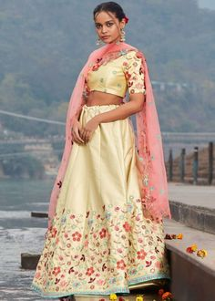 #cream #embroidery #lehenga #choli #dupatta #indianwear #traditional #outfit #beautiful #bride #new #designer #collection #ootd #wedding #time #womenswear #online #shopping