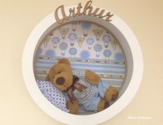 Diy Arts And Crafts, Home Crafts, Wishes For Baby, Baby Art, Shadow Box, Craft Gifts, Little Ones, Decoupage, Teddy Bear
