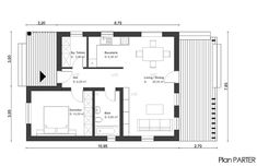 case cu doua camere two room house plans 11 One Bedroom House Plans, Small House Plans, Small Apartment Layout, Small Apartments, One Room Houses, Cabin Floor Plans, Small Space Living, Living Spaces, House Elevation