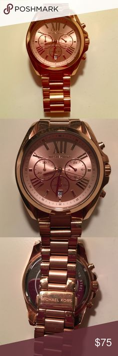 Michael Kors Rose Gold Watch Michael Kors rose gold watch! In great condition! Stainless Steel. Rose Gold-Tone Hardware. 41.5mm Case. Roman numeral numbers on face. Clasp Fastening. MICHAEL Michael Kors Accessories Watches