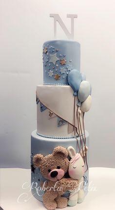 Baby Shower Cakes, Baby Boy Shower, Bear Cakes, Cute Cakes, Beautiful Cakes, Cake Designs, Chocolate Cake, Fondant, Cupcake Cakes