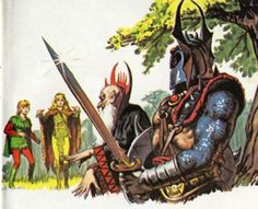 Warduke and Kelek confront Caruso and the druid Filaree, as depicted in The Forest of Enchantment (1983). Art by Earl Norem.