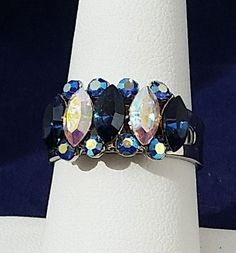 Chrystal rhinestone cluste rings expandable silver aloy maequize cuting 3 colors #customorder #clustercocktail