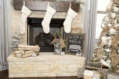 Neutral Christmas tree and mantel with gorgeous sweater cable knit stockings with farmhouse christmas decor.