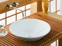 Vessel sinks have a distinctive shape which can coordinate beautifully with other items in the bathroom.