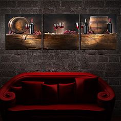 Stretched Canvas Art Still Life Wine and Barrel Set of 3 – EUR € 49.49