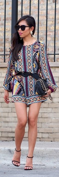 Aztec Print Shift Dress with black accessories // boho glam