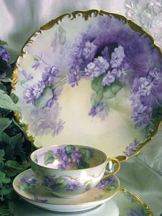 French African Purple Violets Tea Cup and Saucer, Antique Limoges, Hand Painted Vintage Victorian Floral Art c. Vintage Dishes, Vintage China, Antique China, Vintage Teacups, Antique Dishes, Shabby Vintage, Vintage Floral, China Tea Cups, Teapots And Cups