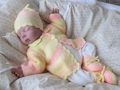 Babygarnitur 3-teilig Gr.50-56 zartgelb/rosa  von babys  dreams auf DaWanda.com