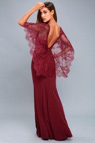 Amelie Burgundy Lace Maxi Dress