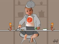 2. Two month baby head chef of a series of 3 #niceidea #personalizedgift #originalidea
