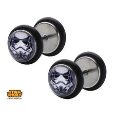 Official Star Wars Screw Back Earrings with Boba Fett Helmet Logo Graphic Front