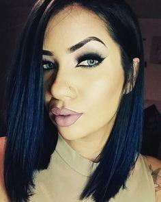 short bob haircut hairstyle   blue black hair perfect eyebrows nude lips blue eyes