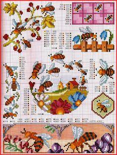 bee hive cross stitch pattern