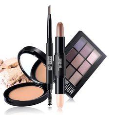 #BuyinCoins - #BuyinCoins MAANGE 4PCS Matte Makeup Set Eyeshadow Highlighter Concealer Stick Bronzer Face Power Palette Eyebrow Pen with Brush Cosmetics - AdoreWe.com