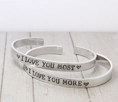 I Love You More Mother Daughter Bracelets, I Love You Most Mother Daughter, Personalized Bracelet Set,Hand Stamped Cuff,Personalized Jewelry on Etsy, $29.00