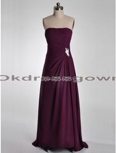 Strapless Simple Chiffon Long Fuchsia prom dress with Sweep Train