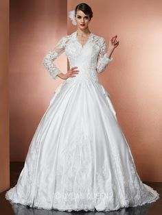 A-Line/Princess V-Neck Long Sleeves Satin Applique Cathedral Train Wedding Dress