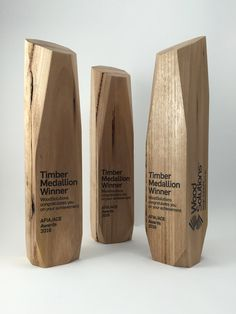 Timber sculptural award, bespoke design trophy with custom print. Created by Artisaned Awards. Signage Board, Wayfinding Signage, Signage Design, Sign System, Trophy Design, Exterior Signage, Perfume Store, Co Working, Metal Wall Decor