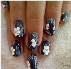 Black and white floral nails