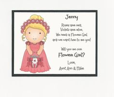 Items similar to BRUNETTE Sophie - Will you be my Flower Girl Flat card - Personalized custom on Etsy Wedding Favor Tags, Wedding Wishes, Bridal Party Invitations, Dream Wedding, Wedding Day, My Flower, Flowers, Red Roses, Wedding Planning