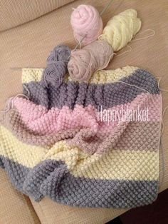 Custom Listing For Mary O'Brien, Crochet Bobble Blanket, Baby Blanket by WishWantDesire on Etsy: & Katia Planet ❤️ Crochet blanket made by Isabel.This Pin was discovered by ZeyI love the border on this blanket!Looks like checkerboard pattern with Crochet Bobble Blanket, Plaid Au Crochet, Crochet Blanket Patterns, Baby Knitting Patterns, Crochet Granny, Free Crochet, Manta Crochet, Baby Girl Crochet, Knitted Baby Blankets