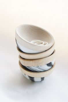 Wooden Mini Bowl Set of Two: Black and White Swirl
